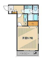 第二大江戸コーポ 2階1Kの間取り