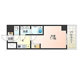JR大阪環状線 福島駅 徒歩13分の賃貸マンション 4階1Kの間取り