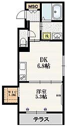 Mervelle oku-ekimae 1階1DKの間取り