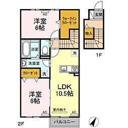 仮)D-room田原町 2階2LDKの間取り