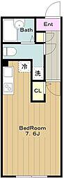 Nasic永山 3階ワンルームの間取り