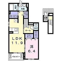 愛知県豊橋市神野新田町字ロノ割の賃貸アパートの間取り
