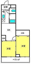 埼玉県さいたま市見沼区東大宮7丁目の賃貸アパートの間取り