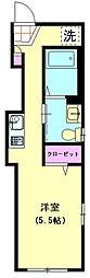 ASAYAIII 4階ワンルームの間取り