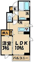 JR中央線 三鷹駅 徒歩7分の賃貸アパート 1階1LDKの間取り