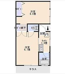 オオギハイツ[1階]の間取り