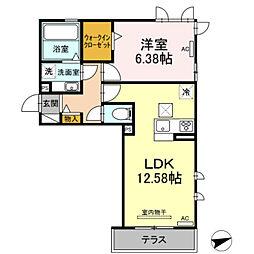 愛知環状鉄道 北岡崎駅 徒歩5分の賃貸アパート 1階1LDKの間取り