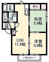 緑の館 A棟[1階]の間取り