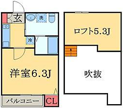 千葉県千葉市中央区稲荷町3丁目の賃貸アパートの間取り