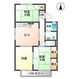 愛知県蒲郡市栄町の賃貸アパートの間取り