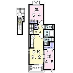 愛知県豊橋市一色町字天獏の賃貸アパートの間取り