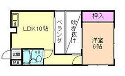 大阪府箕面市桜1丁目の賃貸マンションの間取り