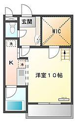 愛知県豊橋市新栄町字新田中の賃貸アパートの間取り