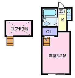 大阪府松原市天美東9の賃貸アパートの間取り