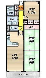 ファミール野江[6階]の間取り