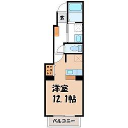 栃木県真岡市荒町4丁目の賃貸アパートの間取り