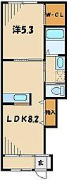 JR川越線 高麗川駅 徒歩6分の賃貸アパート 1階1LDKの間取り