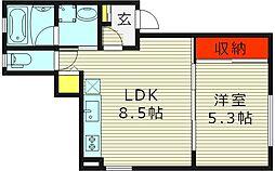 ルシアヴィラシエル 1階1LDKの間取り
