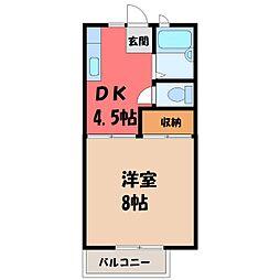 栃木県宇都宮市平松町の賃貸アパートの間取り