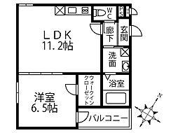 (仮称)フジパレス深井清水町 1階1LDKの間取り