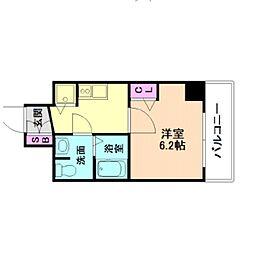 セオリー大阪フルール 8階1Kの間取り
