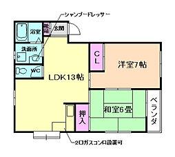 兵庫県川西市大和西4丁目の賃貸アパートの間取り