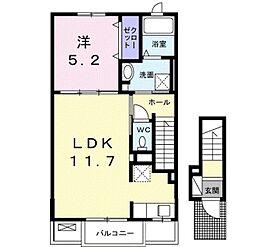 シティガーデン3 2階1LDKの間取り