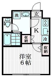 コンフォシード東坂下 2階1Kの間取り