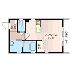 ハウス・カサブランカ 3階ワンルームの間取り