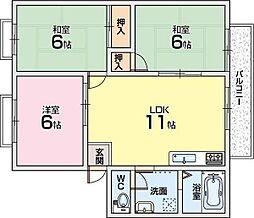 パークヒル枚方D棟[2階]の間取り