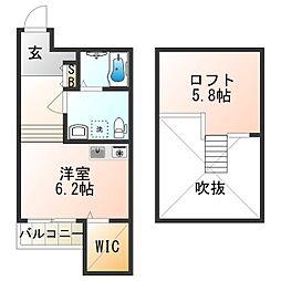 JOYFUL・HOUSE今川 2階ワンルームの間取り