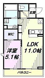 JR青梅線 福生駅 徒歩6分の賃貸アパート 3階1LDKの間取り
