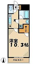 京王相模原線 京王多摩センター駅 徒歩1分の賃貸マンション 10階1Kの間取り