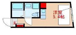東武東上線 中板橋駅 徒歩1分の賃貸マンション 2階ワンルームの間取り