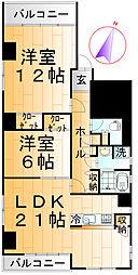 東京都台東区谷中3丁目の賃貸マンションの間取り