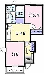 神奈川県伊勢原市沼目6丁目の賃貸アパートの間取り