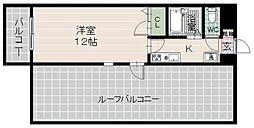 日興ビルII 6階1Kの間取り