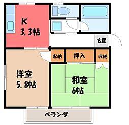 栃木県宇都宮市下平出町の賃貸アパートの間取り