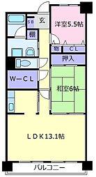 大阪府羽曳野市南恵我之荘5丁目の賃貸マンションの間取り