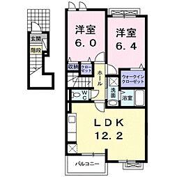 愛知県豊川市上野3丁目の賃貸アパートの間取り