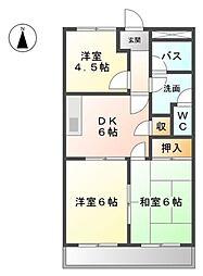 愛知県愛知郡東郷町三ツ池1丁目の賃貸アパートの間取り
