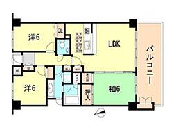 阪急神戸本線 芦屋川駅 バス4分 水車谷下車 徒歩2分の賃貸マンション 2階3LDKの間取り