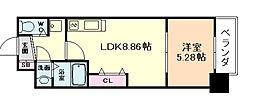 大阪府大阪市福島区福島7丁目の賃貸マンションの間取り