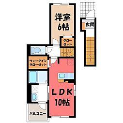 JR東北本線 宇都宮駅 バス15分 中戸祭下車 徒歩4分の賃貸アパート 2階1LDKの間取り
