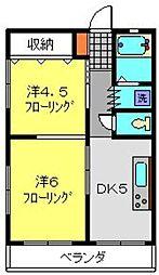 神奈川県横浜市保土ケ谷区峰岡町1丁目の賃貸マンションの間取り