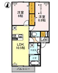 JR武蔵野線 吉川美南駅 徒歩18分の賃貸アパート 1階2LDKの間取り