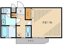 第二大江戸コーポ 1階1Kの間取り