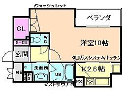 リーガル西天満III[5階]の間取り