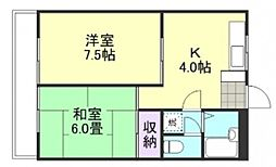 岡山県倉敷市西岡の賃貸マンションの間取り