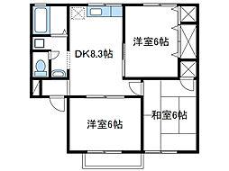 神奈川県厚木市愛名の賃貸アパートの間取り